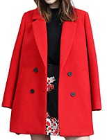 Women's Solid Red / Gray Pea Coats,Street chic Long Sleeve Polyester