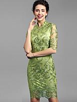 Baoyan® Women's Stand 1/2 Length Sleeve Above Knee Dress-160111