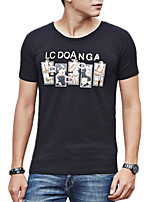 Summer Plus Sizes Men's Fashion Letter Printing T-Shirt Round Neck Short Sleeve Casual Tops