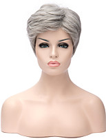 Fashion Lady Gray Capless Short Straight Hair Synthetic Wig