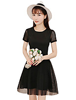 Women's Cute Solid Lace Dress,Round Neck Above Knee Polyester