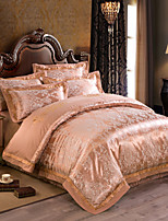 Golden Luxury Silk Cotton Blend Duvet Cover Sets Queen King Size Bedding Set