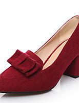 Scarpe Donna-Scarpe col tacco-Formale / Casual-Tacchi / A punta-Quadrato-Finta pelle-Rosso / Grigio