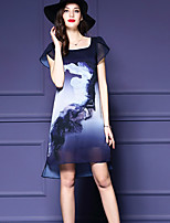 Women's Vintage Print Plus Size / Shift Dress,Round Neck Asymmetrical Polyester