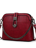 Women PU Shell Shoulder Bag-Red / Gray / Black