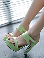 Women's Shoes Patent Leather Chunky Heel Peep Toe / Platform Sandals Dress / Casual Green / Pink / Silver