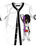 Men's Short Sleeve T-Shirt,Polyester Casual / Work / Formal / Sport Print