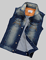 Men's Solid Sleeveless Jacket,Others Casual