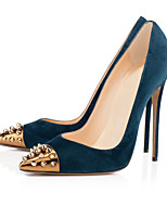 Women's Shoes Fleece 12cm High Heels Sexy Pumps  Party & Evening Blue with Rivets Shoes