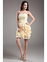 Cocktail Party Dress Sheath / Column Sweetheart Short / Mini Chiffon with Beading / Ruffles