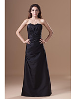 Formal Evening Dress-Black Sheath/Column Strapless Floor-length Taffeta
