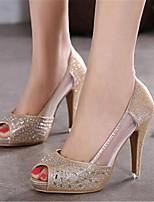 Women's Shoes Leatherette Stiletto Heel Heels / Peep Toe Heels Wedding / Party & Evening Silver / Gold