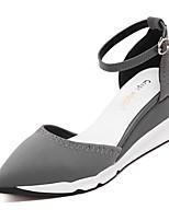Chaussures Femme-Mariage / Bureau & Travail / Habillé / Soirée & Evénement-Noir / Gris-Talon Compensé-Bout Pointu / Bout Fermé-Talons-Cuir