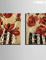 E-HOME® Stretched Canvas Art Red Flower Bag Decoration Painting  Set of 2