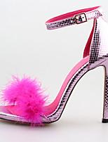 샌달 / 펌프스/힐-웨딩 / 드레스 / 파티/이브닝-여성의 신발-힐 / 토오픈-PU-스틸레토 굽-블랙 / 핑크