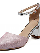 Women's Shoes Leatherette Chunky Heel Heels Heels Outdoor / Office & Career / Dress Pink / Silver / Gold