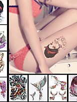 8PCS Temporary Tattoos Waterproof DIY Decal Beauty Women Men Body Back Leg Art Flower Sticker Wing Animals Design