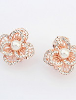 Top Sale Korean Fashion Women Sweet Pink Rose Flower Imitation Pearl White Rhinestone Stud Earrings