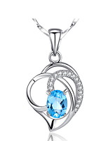 Vintage Real 925 Silver Link Chain Forever Love Blue Heart Pendant Zircon Necklace Women Charms Crystal Jewelry