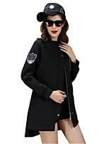 Women's Solid Black Coat,Simple Long Sleeve Nylon
