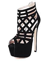 Chaussures Femme-Décontracté-Noir-Talon Aiguille-Talons / Bout Ouvert-Sandales-Laine synthétique
