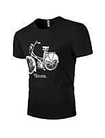 Men's Print Casual T-Shirt,Cotton Short Sleeve-Black / Blue / Gray