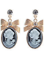 Top Fashion Lady Retro Palace Elegant Women Face Oval White Rhinestone Alloy Dangle Drop Earrings