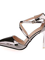 Women's Shoes Leatherette Stiletto Heel Heels Heels Wedding / Party & Evening Silver / Gray / Gold