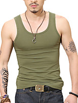 Summer Plus Sizes Men's Solid Color Round Neck Sleeveless Vest Casual Tank Tops