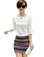 De las mujeres Faldas-Mini Casual Microelástico-Algodón