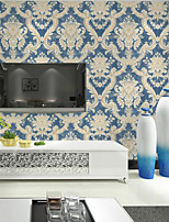 HaokHome® Vintage Damask Wallpaper Blue/Cream Victoria Flocking Murals Wall Paper Home Decoration Wall Covering