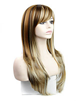 Women's Fashionable Multi-color Long Length Straight Synthetic Wigs