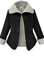 Women's Casual/Daily Simple Coat,Patchwork Long Sleeve Black Polyester