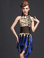 Latin Dance Dresses Women's Performance Milk Fiber Tassel(s) 1 Piece Tiger Stripes / Leopard Print / Zebra