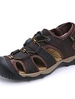 Masculino-Sandálias-Conforto-Rasteiro-Taupe-Napa Leather-Ar-Livre / Casual