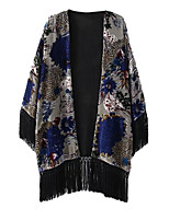 Women's Jacquard Black Cloak/Capes,Street chic Deep V Sleeveless