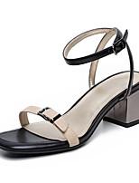 Damenschuhe-Sandalen-Kleid / Lässig-Leder-Blockabsatz-Vorne offener Schuh-Beige
