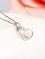 Real 925 Sterling Silver Link Chain Heart-Shaped Simulated Pearl Necklace