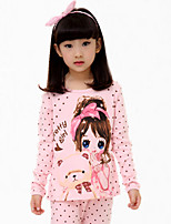Girl's Pink / White Clothing Set,Cartoon Cotton All Seasons