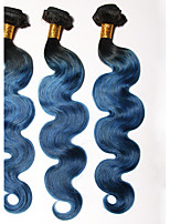 1B/BLUE# Ombre Hair Brazilian Body Wave 3 Bundles Grade 7A Virgin Human Hair Weave Weft