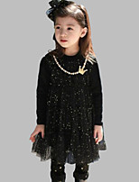 Girl's Casual/Daily Dress,Cotton Spring / Fall Black / Pink