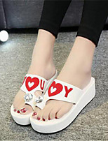 Women's Shoes Synthetic Platform Flip Flops Slippers Outdoor / Casual Black / White
