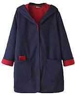 Women's Color Block Blue Pea Coats,Simple Long Sleeve Wool