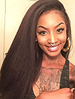 Kinky straight Lace Front Wigs Soft Straight Light Brown or Natural Black Color Human Hair Remy Virgin Brazilian