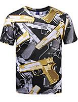 Tee-Shirt Pour des hommes A Motifs Décontracté Manches Courtes Polyester Jaune