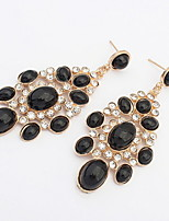 Fashion Classic Irregular Black Drop Earrings with Rhinestone Elegant Women Fine Water Drops Shaped