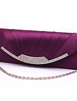 Women Satin Minaudiere Clutch / Evening Bag-White / Purple / Blue / Gold / Red / Black / Almond