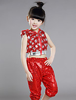 Girl's Cotton Summer Dot Hollow Out Pants And Star Printing Nation Dance Uniforms(No Cap)