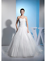 A-line Wedding Dress-Court Train Sweetheart Organza / Satin