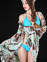 L.WEST Women Flower Print Chiffon Scarf Beach Towels